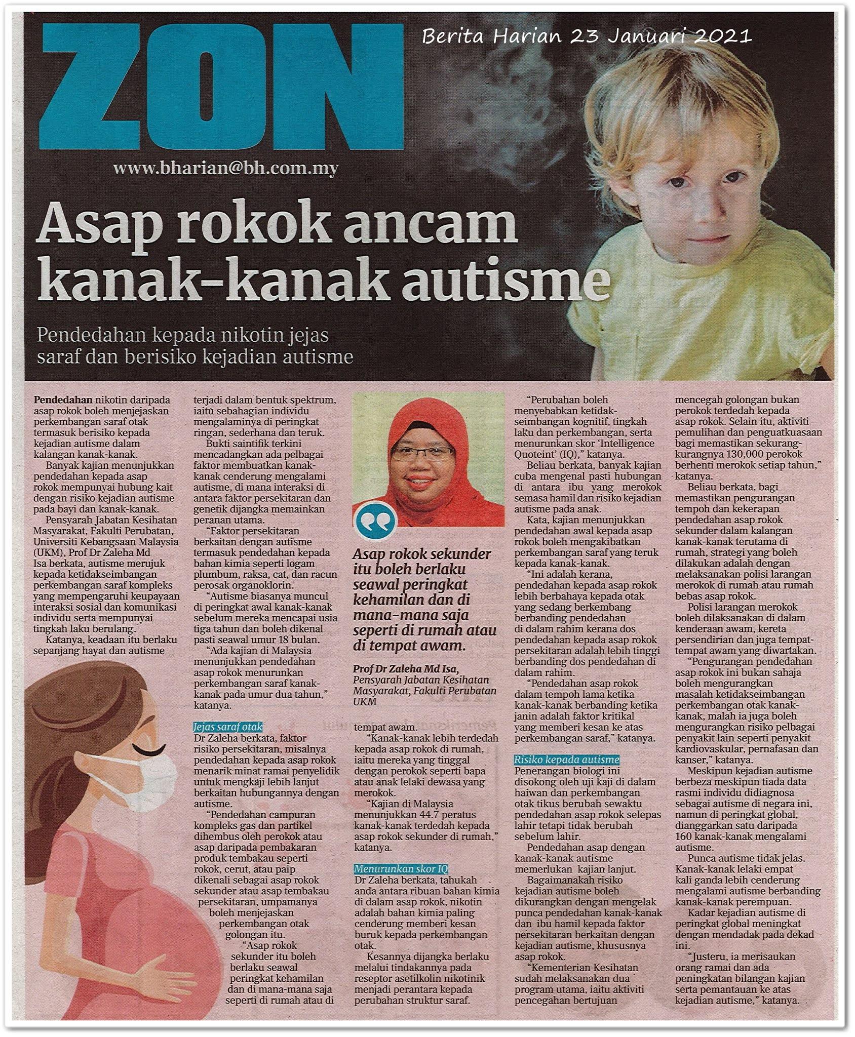 Asap rokok ancam kanak-kanak autisme - Keratan akhbar Berita Harian 23 Januari 2021