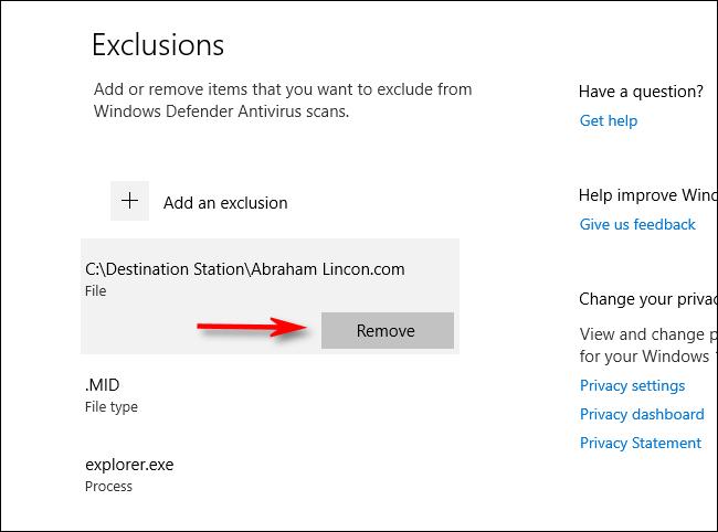 إزالة استثناء من إعدادات فحص Windows Defender في Windows 10