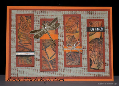 Fall, Autumn, Tuesday Tutorial, Stampin Up, Trude Thoman, baby wipe technique, Vintage Leaves, Awesomely Artistic