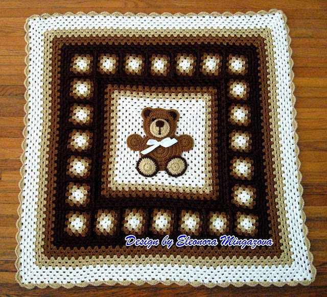 Patrón #1536: Manta Osito a Crochet