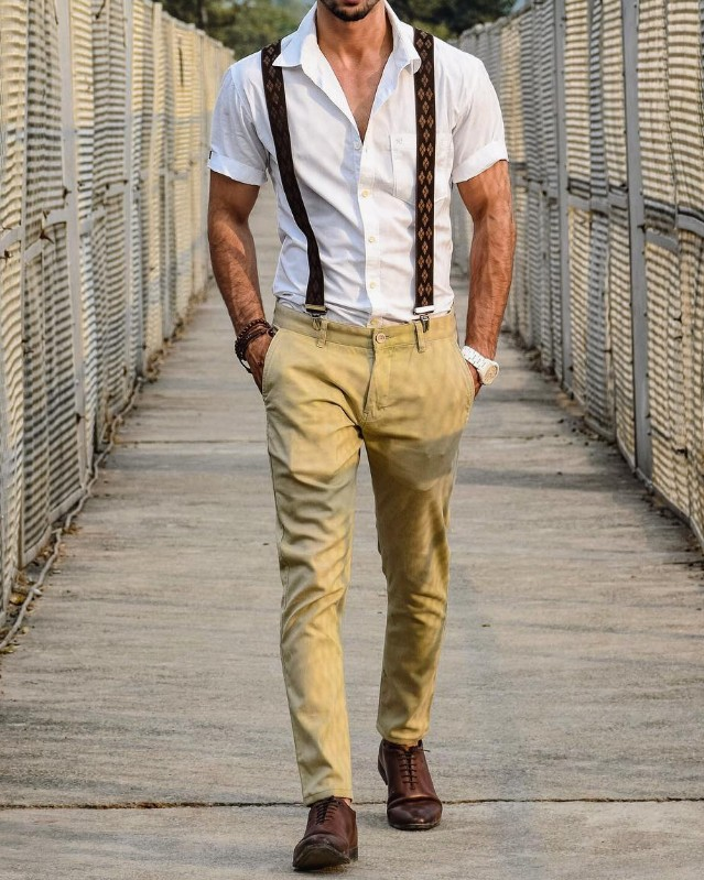 Suspenders with Half sleeves shirt and trousers