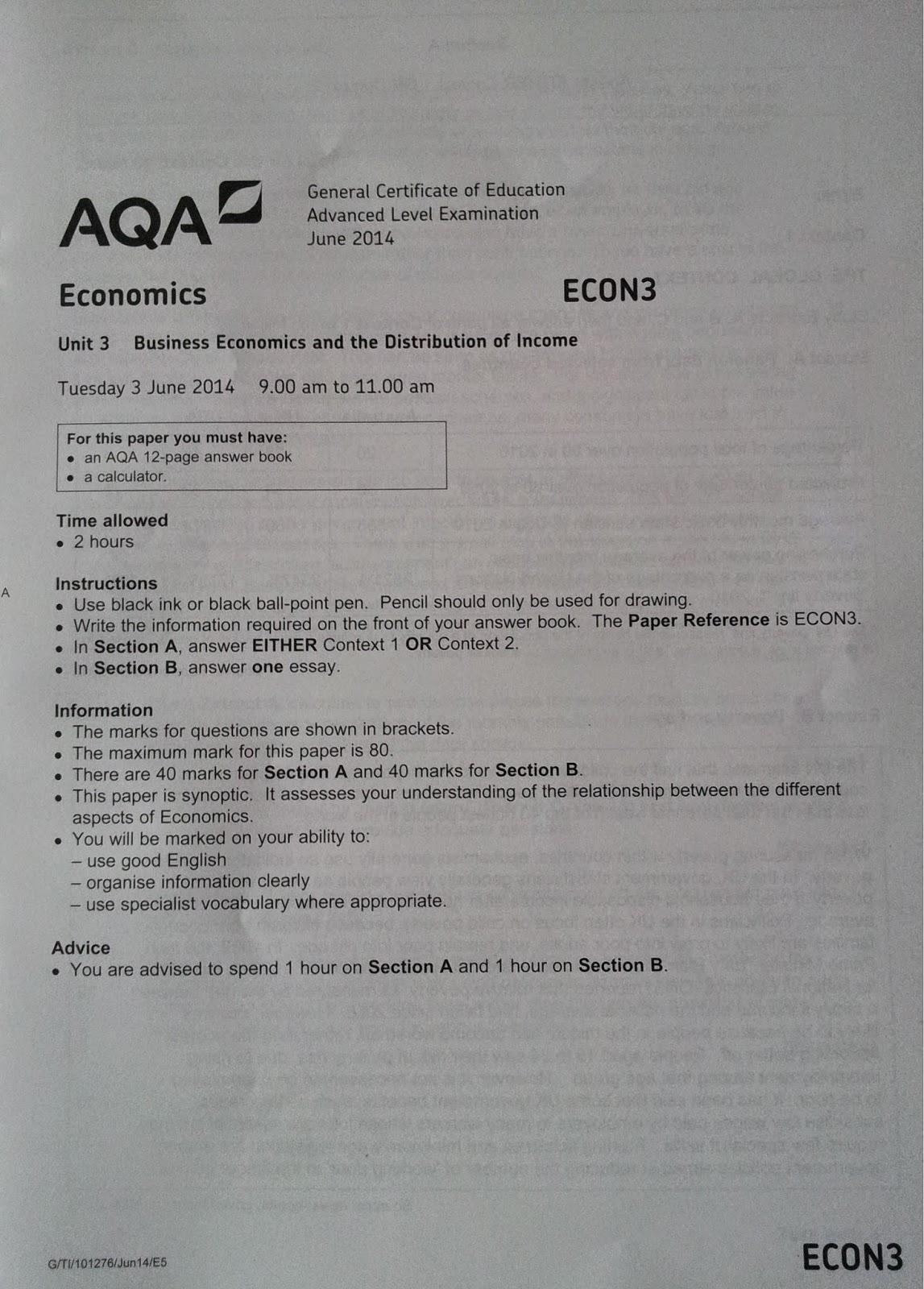 AQA Eon3 exam paper june 2014
