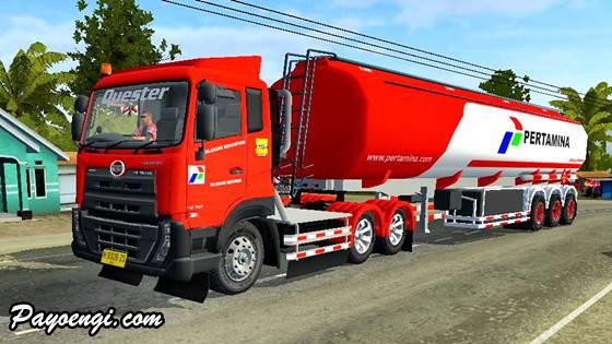 livery ud quester trailer tangki pertamina merah putih