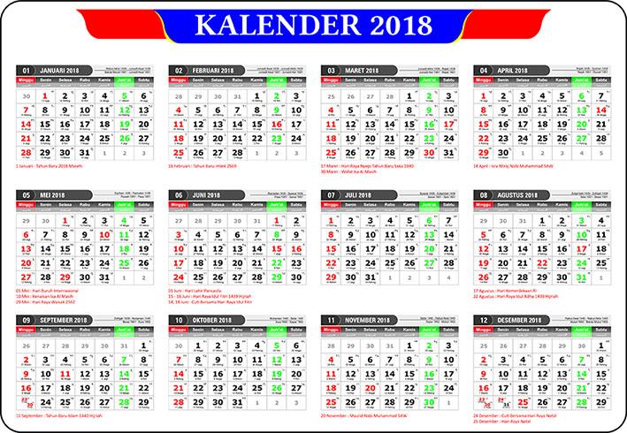 template kalender 2018 file cdr. Black Bedroom Furniture Sets. Home Design Ideas