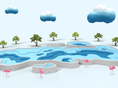 3D Origami lake clouds trees and flamingos