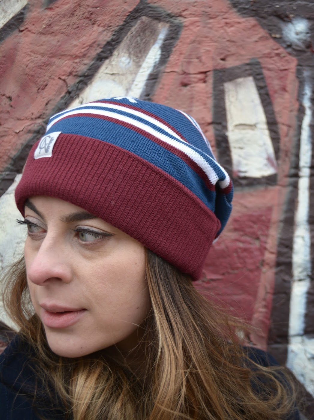 #LoveYourCity Beanies, Tuck Shop Trading Co., Tuck Shop Trading Co. beanies, City of Neighbourhoods toques, #LoveYourCity toques, retro styled toques, Chicago fashion blogger, Chicago streetstyle, Chicago style blogger, Latina influencer, Latina fashion blogger, bloguera de moda de Chicago, bloguera de Chicago, bloguera latina, Zara navy wool coat, abrigo largo de lana de Zara, high rise  jeans, Blank NYC high rise jeans, Forever 21 cable knit sweater, cable knit sweater, winter style, winter fashion, rep your hood, MANGO burgundy booties, botines color granate de MANGO, Wicker Park style, Wicker Park Chicago, Stan's Donuts, bronze Zara crossbody, bandolera bronce de Zara, Desiree Velasquez, Pistachio glazed doughnut from Stan's Donuts, Stan's Donuts Wicker Parker, CTA Damen Blue Line