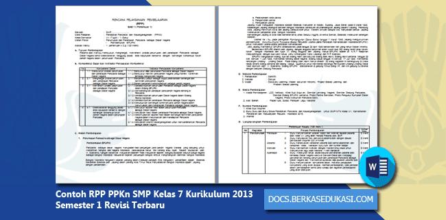 Contoh RPP PPKn SMP Kelas 7 Kurikulum 2013 Semester 1 Revisi Terbaru