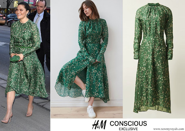 Crown Princess Victoria wore a H&M green floral dress from H&M Conscious Exclusive Collection 2018