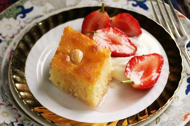 Semolina cake with strawberries in rose syrup (Basbousa)