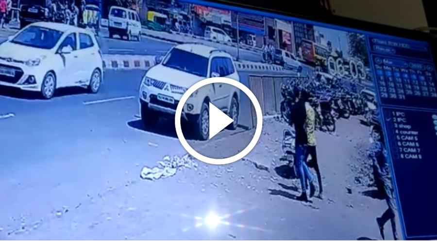 நெஞ்சை படபடக்க வைக்கும் CCTV வீடியோ காட்சி !!