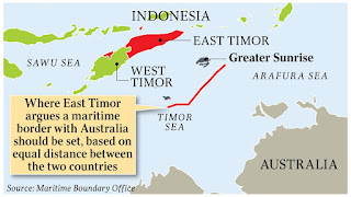 East Timor Maritime Boundary Office Map of Timor Sea claimed by East Timor against Australia