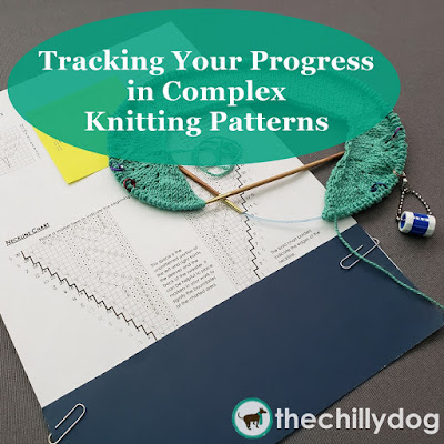 Tips, tools and strategies to help you track your progress in complex knitting patterns, like sweaters.