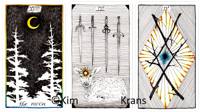 The wild unknown tarot The Moon Four of Swords Four of Wands