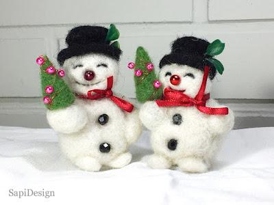 lumiukko figuuri uniikki neulahuovutus joulu SapiDesign