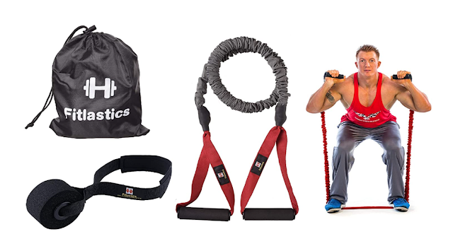 Fitlastics Resistance Tube Set with Safety Nylon Protection Includes Door Anchor & Storage Bag