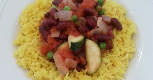 My version of Moosewood West Indian Red Beans and Rice