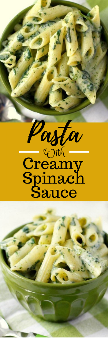 Pasta with Creamy Spinach Sauce #vegetarian #pastarecipe