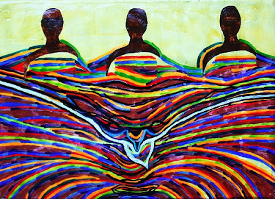 ID: three dark brown people float above and in rainbow lines of color like an ocean with a light blue line coming out and down from them, evoking the shape of a bird.
