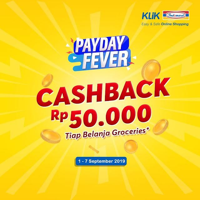 #KlikIndomaret - #Promo Cashback 50K Tiap Belanja Groceries (s.d 07 Sept 2019)
