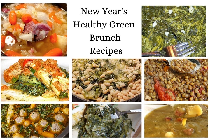 this is a collage of green lucky recipes that resemble money for New Year's Day