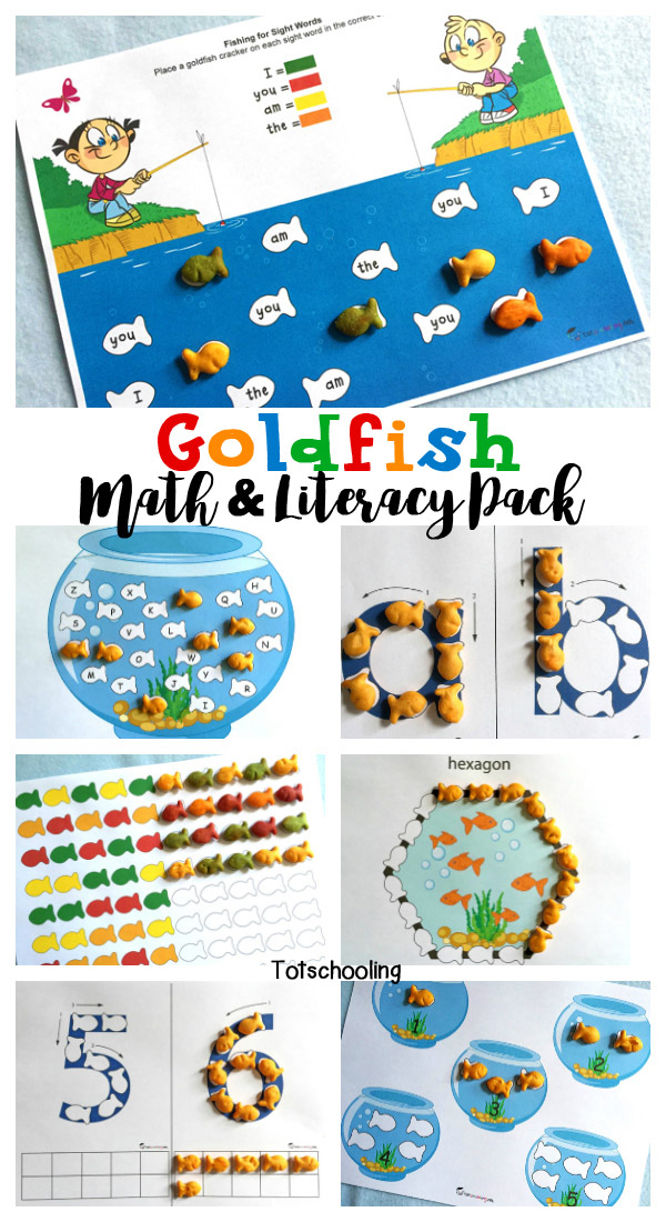 Math & Literacy pack for toddlers, preschoolers and kindergartners to be used with goldfish crackers. Includes counting, number recognition, alphabet tracing, letter recognition, sight words, patterns, shapes, colors and more!