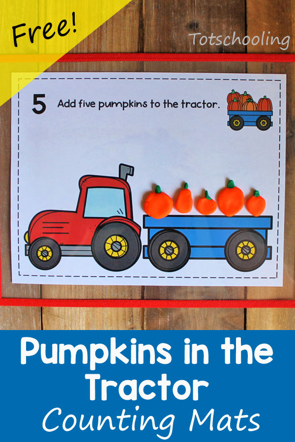 FREE printable Pumpkin themed counting and reading activity, perfect after a Fall trip to the farm to go pumpkin picking! Preschool and kindergarten kids will love these  mats that can be used with playdough, stickers, dot markers or other things!