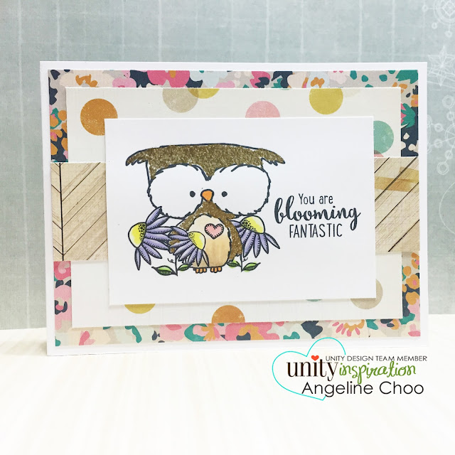 ScrappyScrappy: Selective embossing owl #scrappyscrappy #unitystampco #stamp #stamping #owl #emboss #glitter #copic #card #cardmaking