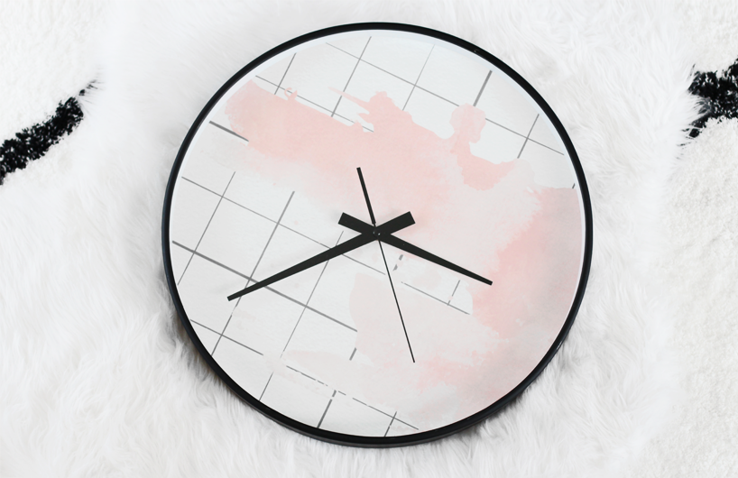 Elegant Art Club Concept pink grid clock