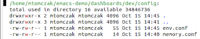 A config subdirectory ein emacs *dired* mode, showing the env.conf file