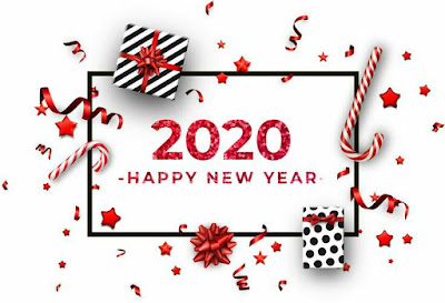2020 Happy New Year Red Holiday Greetings Fold Over Cards