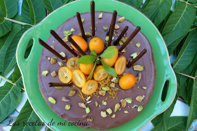 Cheesecake de chocolate y naranja, fácil y sin horno