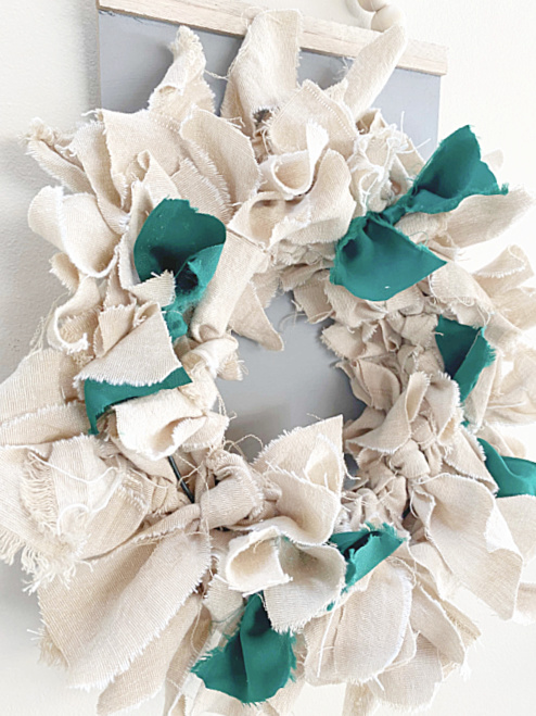 rag wreath with green rags