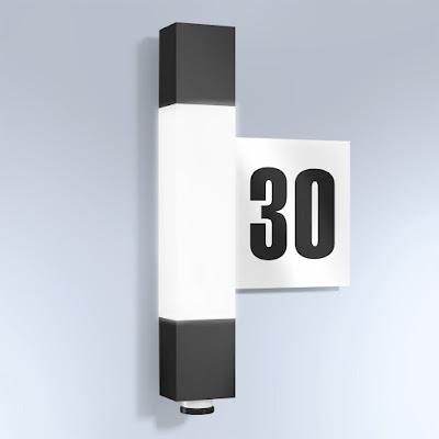 Aplică de perete pentru exterior cu senzor de mișcare și număr de casă iluminat