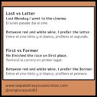 Diferencia entre last y latter y first y former, inglés, aprender inglés, curso de inglés