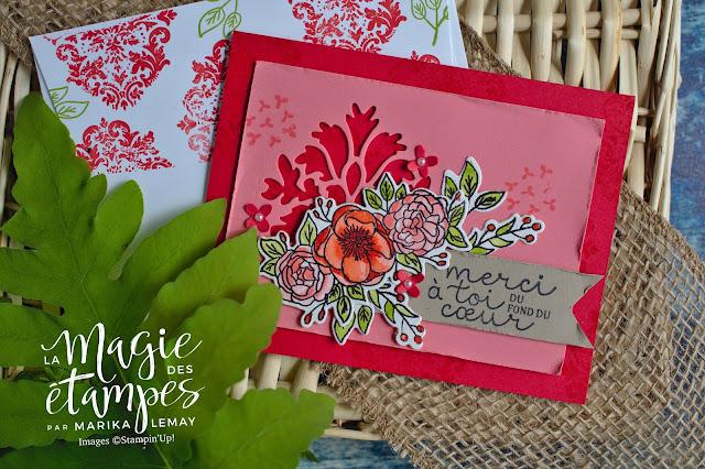 Carte Stampin'Up! florale pour le blog hop des démonstratrices francophones du Québec Canada