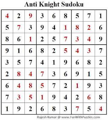 Answer of Anti Knight Sudoku Puzzle (Fun With Sudoku #386)