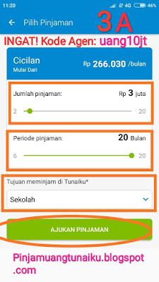 Langkah ke tiga pinjaman uang di Aplikasi pinjaman Tunaiku kode agen uang10jt