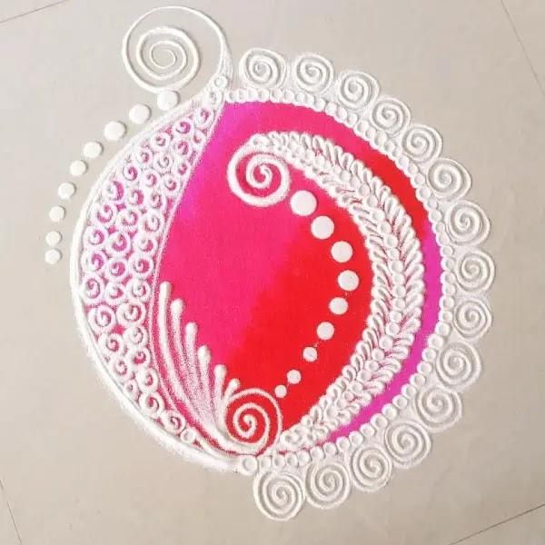 White_with_pink_kolam_pattern