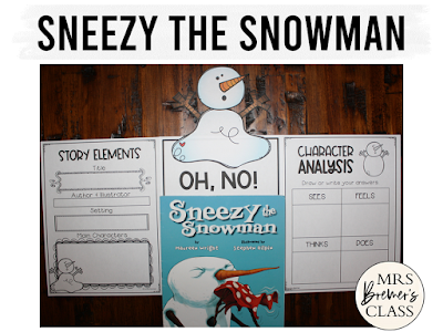 Sneezy the Snowman winter book study literacy unit with Common Core aligned companion activities and a craftivity for K-1