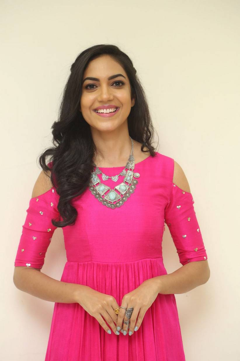 Tollywood Actress Ritu Varma Long Hair In Pink Dress