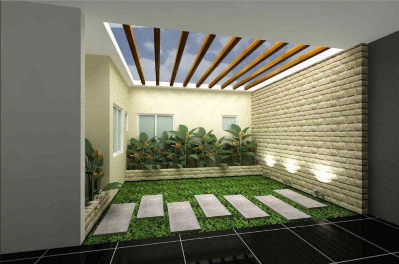 taman dalam rumah minimalis modern kreatif