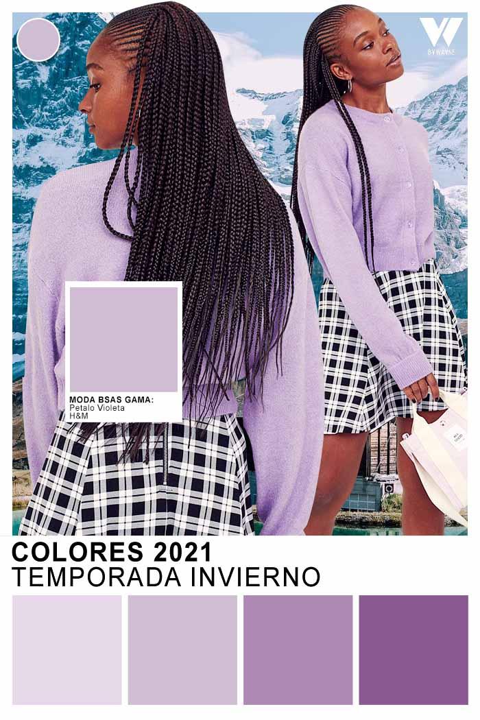 Tendencia colores otoño invierno 2021 colores lila blanco negro
