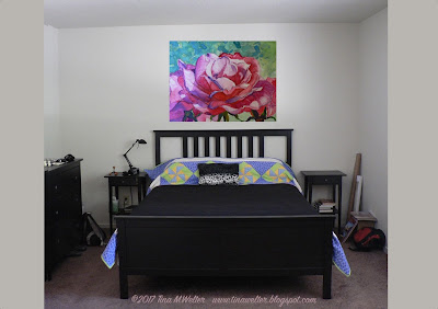 Classic Pink Rose, painting for the bedroom, ©2017 Tina M.Welter