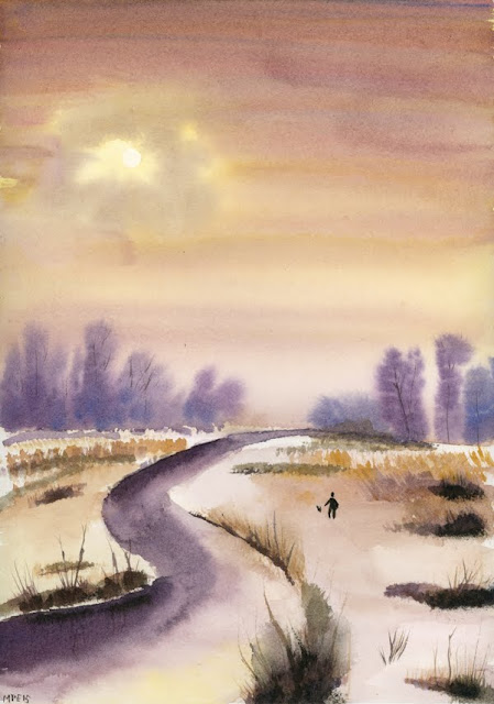 Painting: Sun breaking through the mist, a walk in a winter landscape