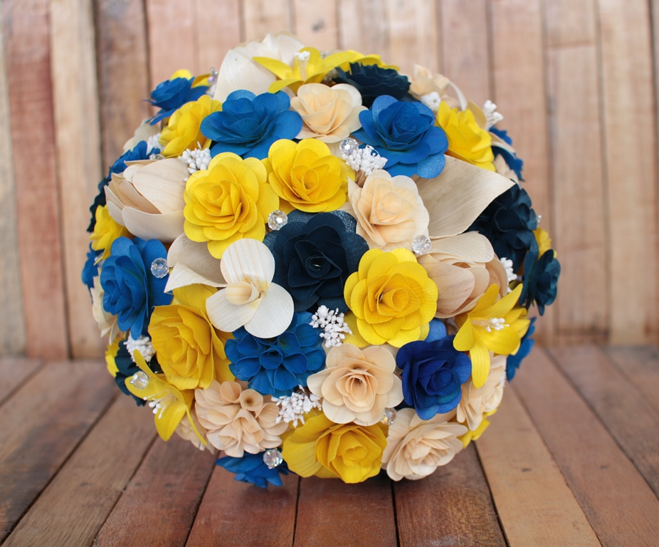 Ivory royal blue and yellow wedding bouquets made of wooden flowers ivory royal blue and yellow wedding bouquets made of wooden flowers mightylinksfo