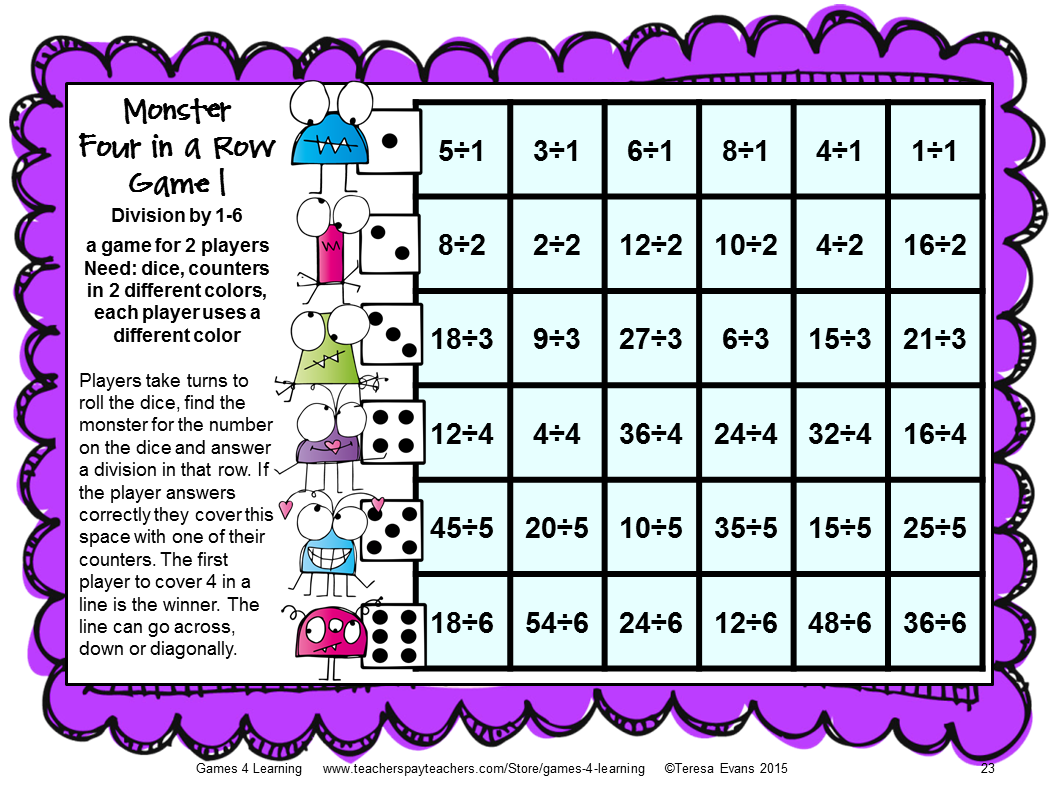 Printable Division Games - Kidz Activities