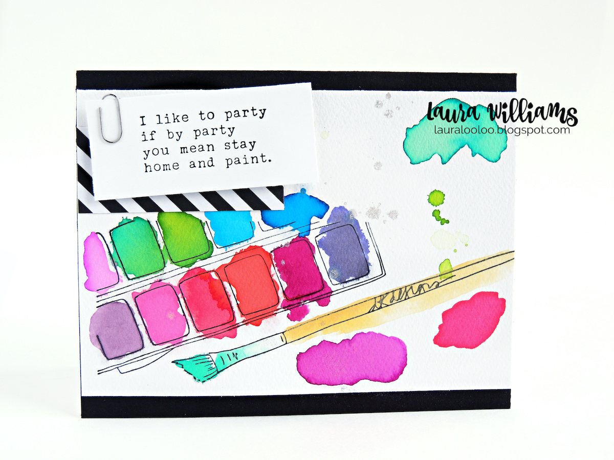 I like to party if by party you mean stay home and paint - visit my blog to see details about this handmade card idea that's perfect for a creative, crafty, or paint-loving friend. Simple stamping and puddles of watercolor are all your need to make this fun cardmaking idea with stamps from Impression Obsession.