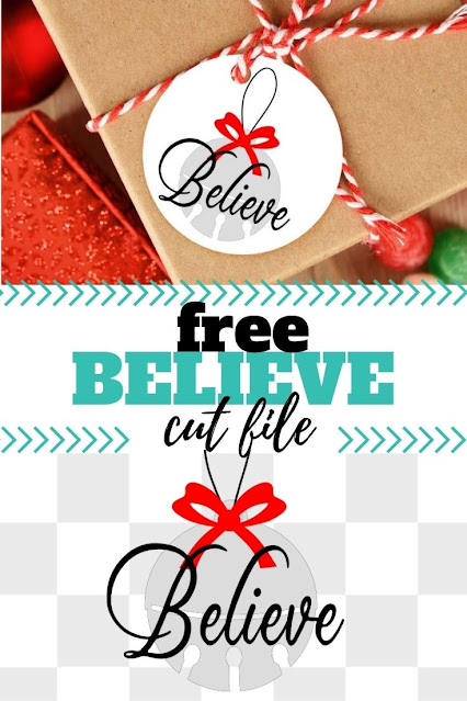 Find a little hope this holiday with the free believe svg cut file.
