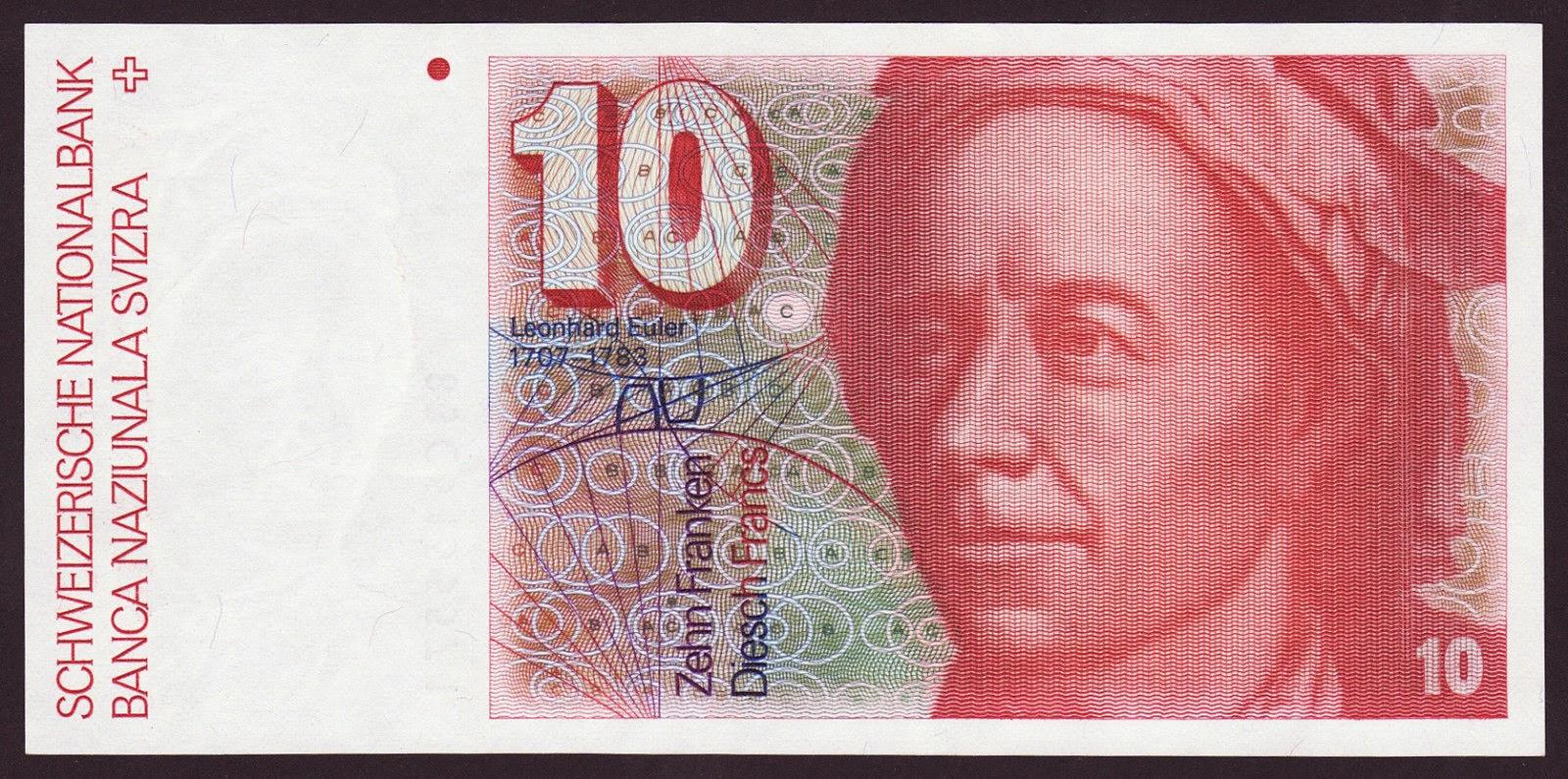 Banknotes of Switzerland 10 Swiss Franc note, Leonhard Euler
