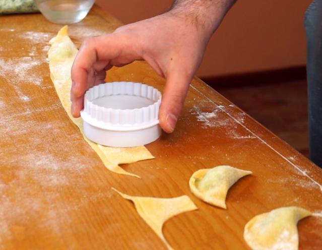 making mezzaluna pasta